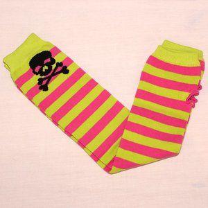 Neon striped skulls armwarmers